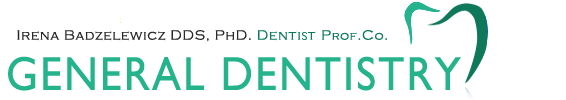 Logo at services page. Text: Irena Badzelewicz DDS. PHD. Dentist Profesional Corporation. General dentistry.